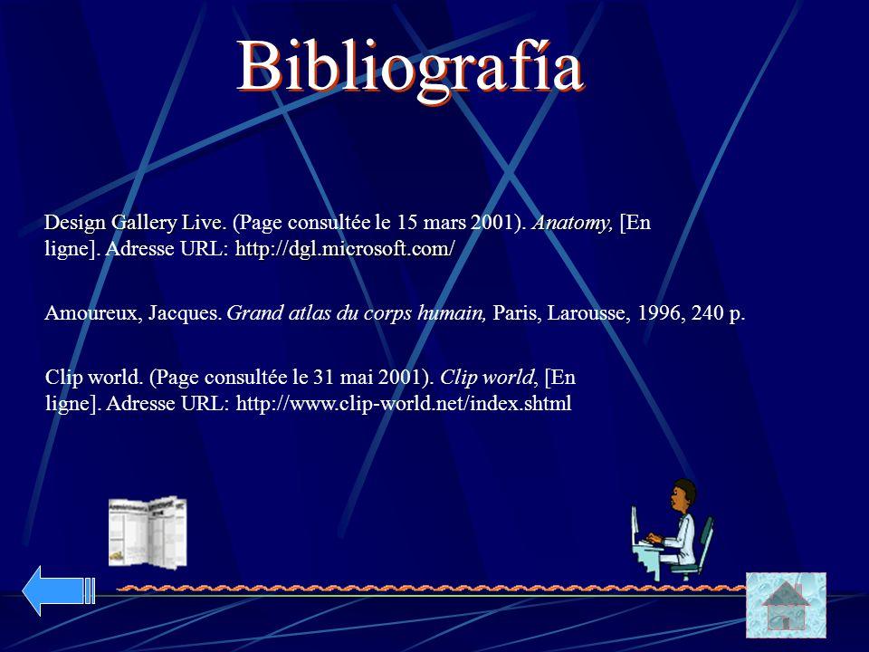 Bibliografía Design Gallery Live. (Page consultée le 15 mars 2001). Anatomy, [En ligne]. Adresse URL: http://dgl.microsoft.com/